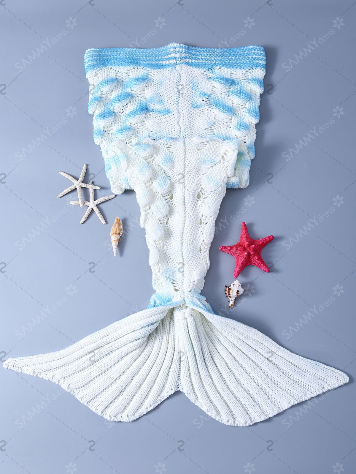 Stylish Crochet Shell Deisgn Knitting Mermaid Tail Shape Blanket For Kids