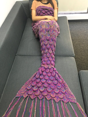 Stylish Knitting Raised Fish Scale and Tassel Design Mermaid Shape Sofa Blanket