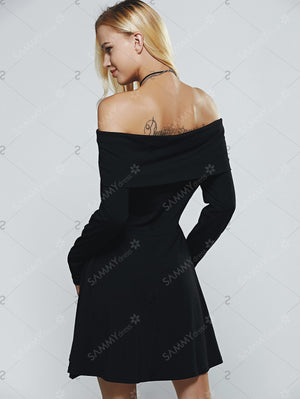 Slimming Off-The-Shoulder High Waist A-Line Dress