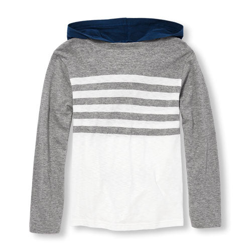 Boys Long Sleeve Striped Hooded Top