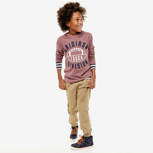 Boys Long Sleeve Marled Varsity Graphic Hooded Top