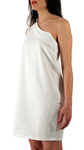 Bambecula dress with asymmetric shoulder