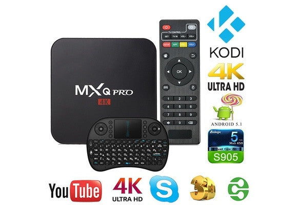 MXQ Pro TV BOX Android 5.1 Amlogic S905 Quad-Core 1GB/8GB 4K*2K Full loaded TV BOX H.265 Media Player + I8 Keyboard