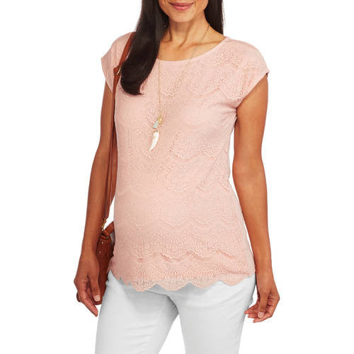 Faded Glory Maternity Short Sleeve Lace Front Top