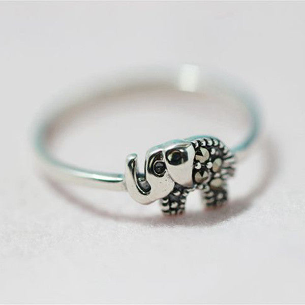 Sterling Silver Elephant Ring with MARCASITE Stones