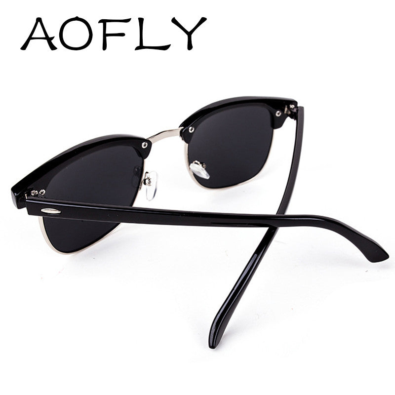 AOFLY CLASSIC Half Metal Sunglasses Men Women Brand Designer Glasses G15 Coating Mirror Sun Glasses Fashion Oculos De Sol S1580
