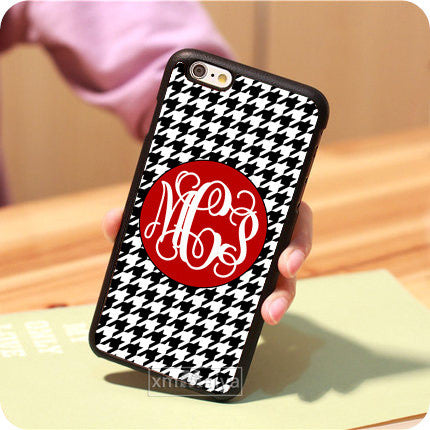 "Monogrammed Houndstooth  Hard Mobile Phone Case For Iphone 6 Cover 4.7"" For iPhone 6 plus Case 5.5"""
