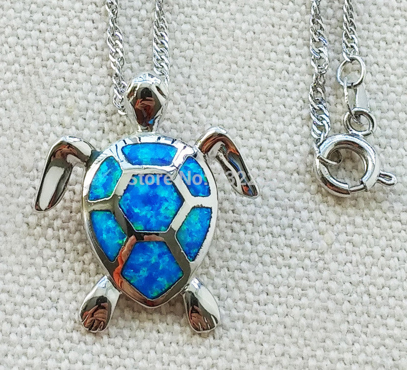 Cute blue fire opal sea turtle design pendant necklace for women - Free + Shipping