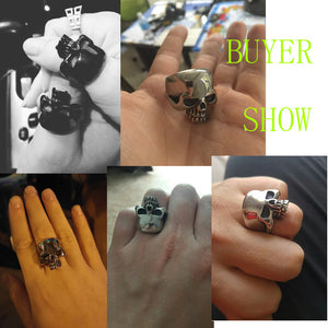 Drop ship Cool Stainless Steel Rings For Men Trendy Smooth Polishing Big Tripple Skull Ring Punk Biker Jewelry VR312
