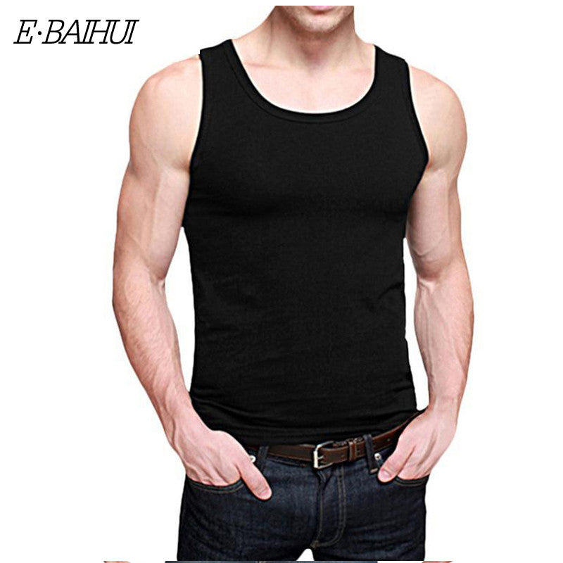 E-BAIHUI Brand mens t shirts Summer Cotton Slim Fit Men Tank Tops Clothing Bodybuilding Undershirt Golds Fitness tops