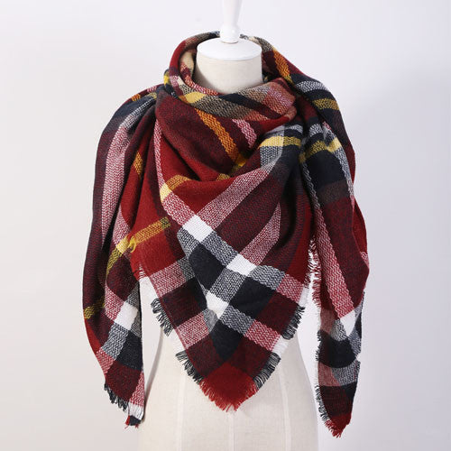 EOL Brand Exclusive Sales Cashmere Desigual Triangle Scarf  Pashmina Shawl Tassels Plaid Fashion Warm Winter For Women OL088
