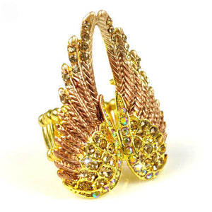 Exclusive Design Steampunk Austrian Rhinestone Fashion Angel Wing Ring Excellent Quality ,3 colors,RN-618