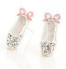 Tiny Rhinestone Ballet Slippers Earrings