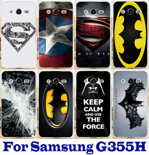 G355h Case Superman Batman Captain America Shell for Samsung Galaxy Core 2 G355h G3559 G355 Case Hard PC Phone Cover