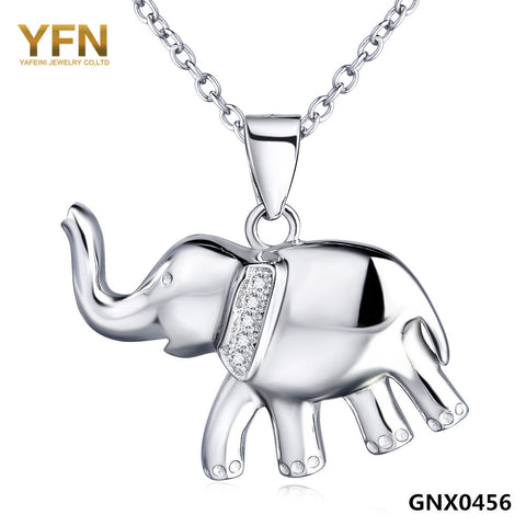 "Sterling Silver Elephant Pendant Necklace 18""+2"" Extender"