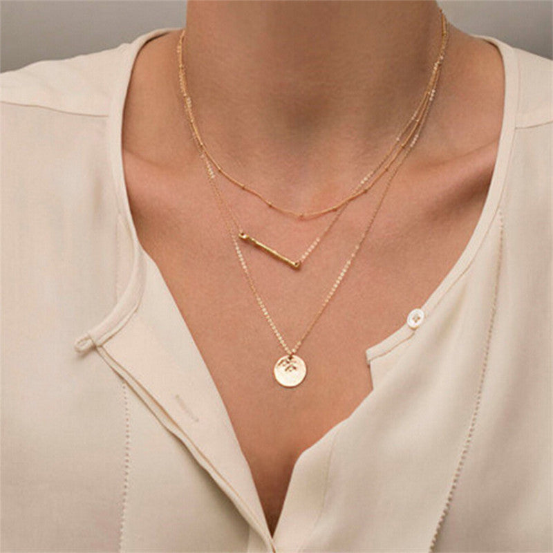 Gold Fatima Hand Multilayer Hammer Chain Hamsa Moon Lariat Bar Necklace Long Strip Pendant Necklace Collar joyeria collier Women