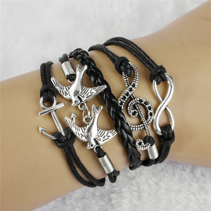 Handmade Homme Del Hambre Vintage Bird Anchor Bracelets Wrap Leather Bracelet Charm bracelets pulseira couro bracelets for women