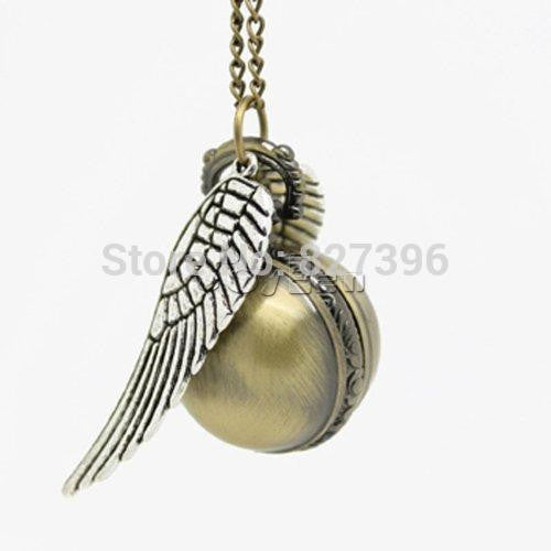 Harry Potter Golden Snitch Pendant Balls Pocket Watch Necklace Wings Chain Gift Cosplay Costume Accesorry