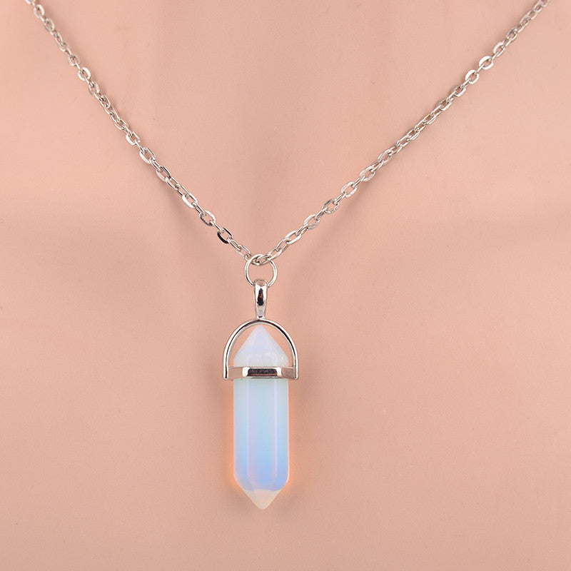 Hexagonal Column Necklace Natural Crystal turquoise Agate Amethyst Stone Pendant Chains Necklace For Women Fine Jewelry 8229