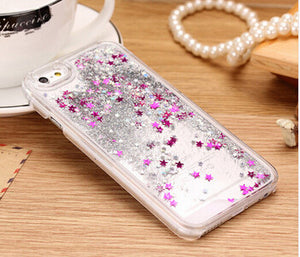 Hot Sale Glitter bling Quicksand star Liquid hard back cover clear phone case for iphone SE 5 5S YC213