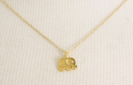 Gold Pendant Elephant Necklace 14k gold plated