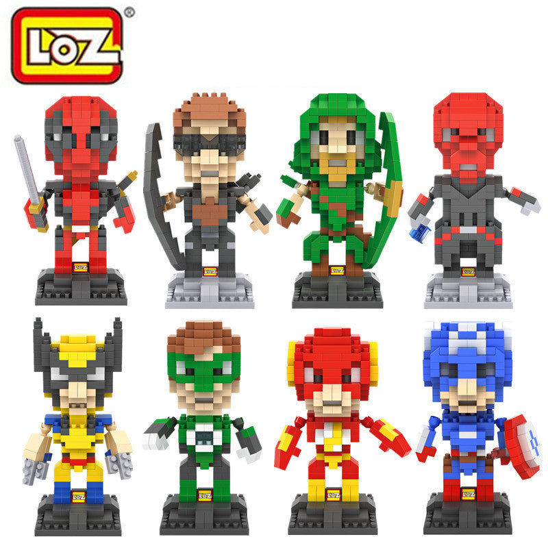 LOZ Movie & Anime The Avengers Super Hero Q Version Action Figure Deadpool Iron Man Batman Cartoon 3D DIY Model Assemblage Toys