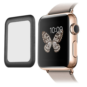 Link Dream Tempered Glass Screen Film with Full Cover Metal Edge for Smart Apple Watch (42mm Black)