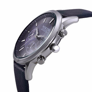 Mens Watches NORTH Brand Luxury Casual Military Japan Quartz Movement Sports Wristwatch Genuine Leather Strap Male Clock watch, Color - Silver Black