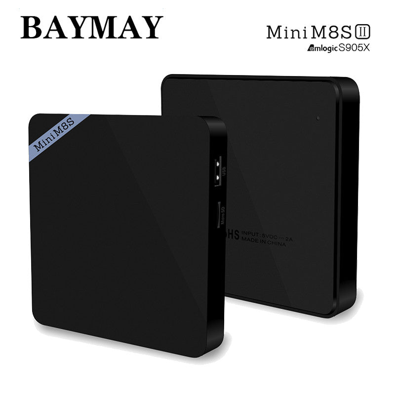 Mini M8S II android TV Box Amlogic S905X Quad Core Android 6.0 WiFi Bluetooth 4.0 2GB RAM 8GB Smart Media Player With EU/US Plug
