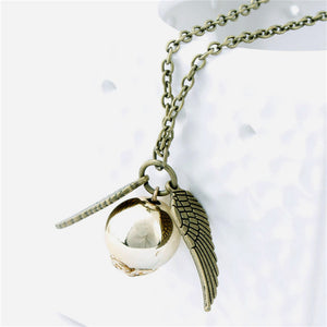Movie Theme Jewelry Angel Wing Thin Necklaces Collares 2015 populares Quidditch Harry Potter Charm Golden Snitch Pendent