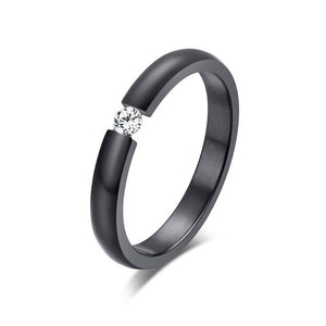 ORSA 2015 New Fashion Black Titanium Steel Rings Shining Crystal Men Women Wedding Engagement Rings OTR48