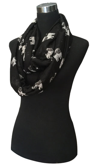 Pug Dog Animal Pet Print Women's Infinity Loop Scarf