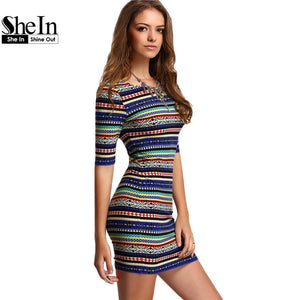SheIn Womens New Arrival Summer Dresses 2016 Sexy Club Multicolor Vintage Print Round Neck Half Sleeve Bodycon Dress