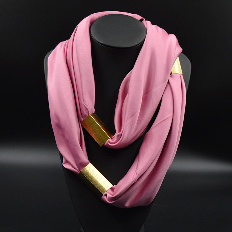 Silk Necklace Long Scarf Necklace Solid Colors Gold-plated Decorative Soft Scarves Accessories Trendy Women 2015 New Arrival