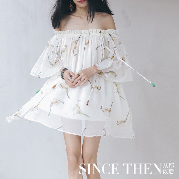 SINCE THEN new original design collar oversized swing skirt resort beach gentle breeze