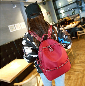 Korean women shoulder bag waterproof nylon oxford cloth wild fashion rivet small backpack student leisure travel bags