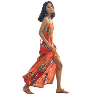 SINCE THEN New sexy orange halter strap dress beach resort large flowers tropical orange dress