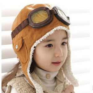 Winter Baby Toddler Boy Girl Kids Pilot Aviator Warm Cap Hat Beanie Brown Black