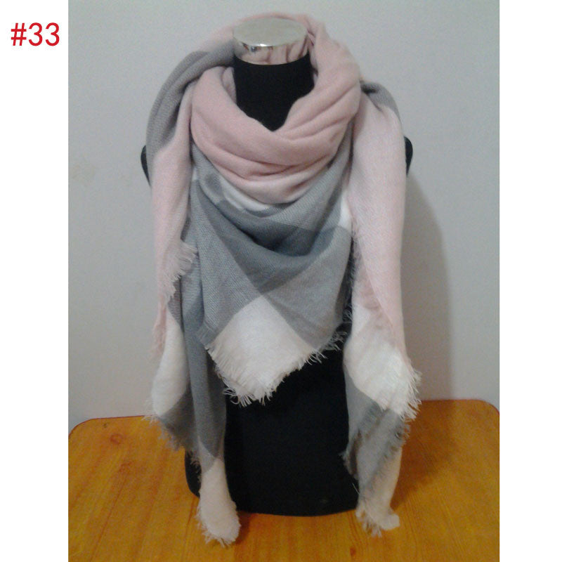 Za winter oversize plaid new designer blanket  unisex acrylic wrap cashmere scarf shawl pashmina for spring fall 140x140CM