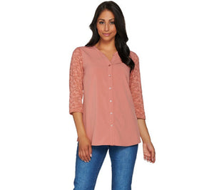 Denim & Co. Button Front 3/4 Lace Sleeve Blouse