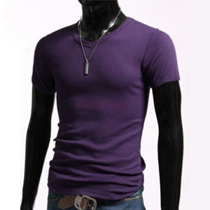 Summer 2016 Men's New Casual V-Neck Tops Short Sleeve Slim Cotton Elastic T-shirt Black / White / Gray / Purple 3324