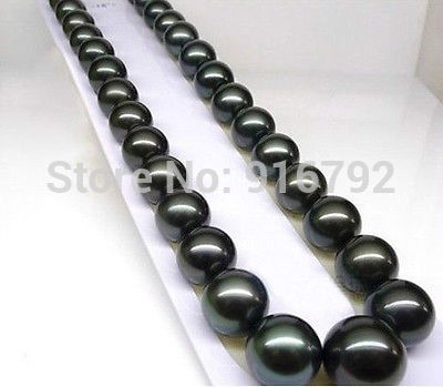 free shipping FINE JEWELRY HOT SELL NEW 18'' 10 11mm AAA+ Tahitian Black Pearls Necklace