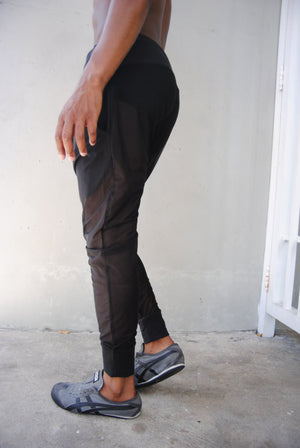 Black Mesh Drop Crotch Harem Pants / Mens Harem Pants / Drop Crotch Pants / Mens Joggers / Two Pockets / Handmade by GAG THREADS