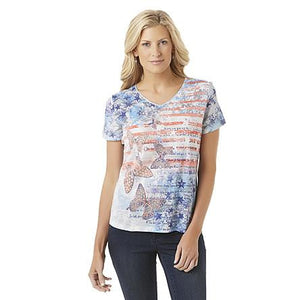 Basic Editions Women's Embellished Graphic T-Shirt - American FlagBasic Editions Women's Embellished Graphic T-Shirt - American Flag