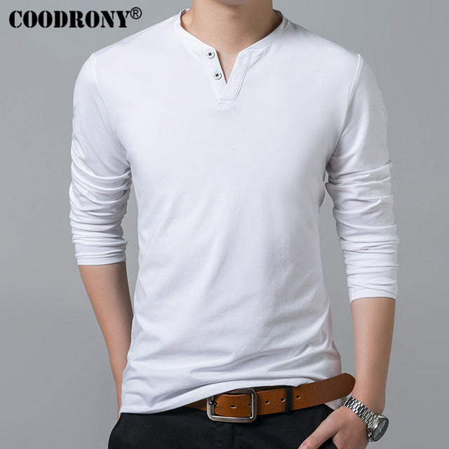 COODRONY T-Shirt Men 2017 Spring Summer New Long Sleeve Henry Collar T Shirt Men Brand Soft Pure Cotton Slim Fit Tee Shirts 7625