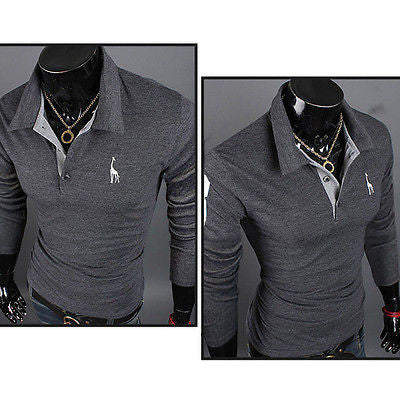 Fashion Men Summer Slim Fit Casual Short Sleeve POLO Shirts T-shirt New Tee Tops