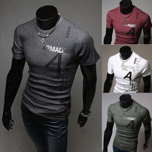 Fashion Cotton Men Slim Sport Fit T-Shirt Short Sleeve Casual Tops Blouse New