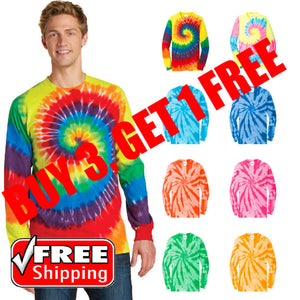 Tie-Dye Long Sleeve T-Shirt Multi Color Swirl Rainbow Tye Die Unisex T PC147LS