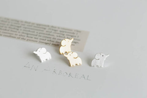 Silver/Gold Plated Tiny Elephant Earrings