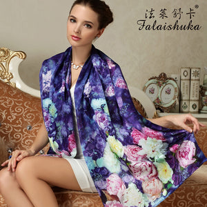 2016 100% Mulberry Long Scarf Women Silk Scarf Luxury Brand Scarf Shawl Silk Scarves Long Printed Shawls Beach Cover-ups